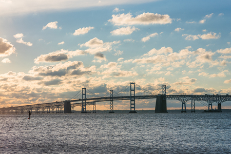 Sunrise view of the Chesapeake Bay Bridge from Sandy Point State Park, in Annapolis, Maryland