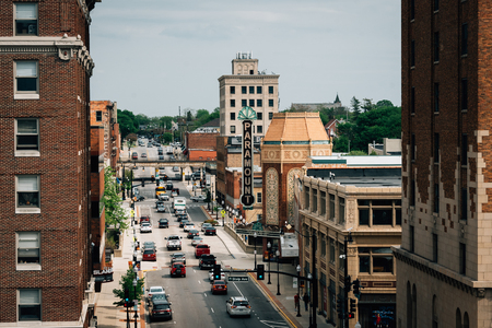 Galena Boulevard and the Paramount Theater in Aurora, Illinois