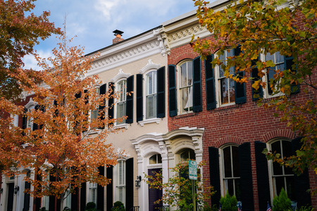 Fall color and row houses in Old Town, Alexandria, Virginia 免版税图像
