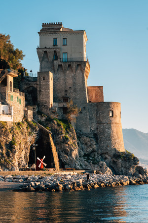 The Torre di Cetara at sunrise, in Cetara, on the Amalfi Coast, in Campania, Italy