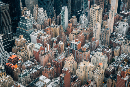 A bird's eye view of buildings in Midtown Manhattan, New York City