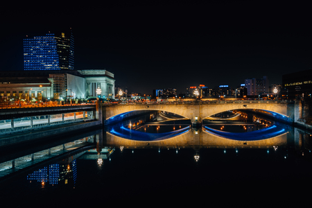 The Schuylkill River and Market Street Bridge at night, in Philadelphia, Pennsylvania. Editorial