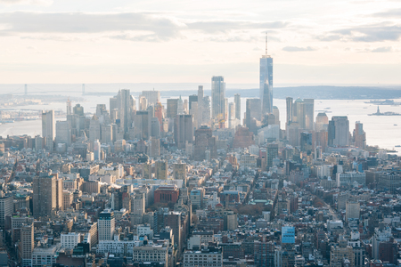 View of the Financial District in Manhattan, New York City Stok Fotoğraf