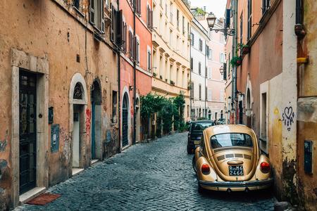 Vicolo del Bologna, a cobblestone street in Trastevere, Rome, Italy.