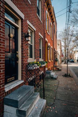Brick row houses near Rittenhouse Square, in Philadelphia, Pennsylvania.