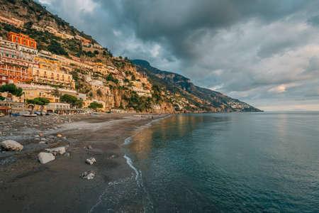 The shore in Positano, on the Amalfi Coast, in Campania, Italy