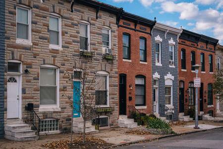 Row houses in Highlandtown, Baltimore, Maryland 免版税图像