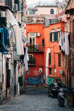 Graffiti along a street in Naples, Italy
