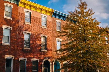 Brick row houses in Fairmount, Philadelphia, Pennsylvania.