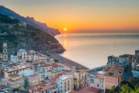A sunrise view over Minori, on the Amalfi Coast, in Campania, Italy