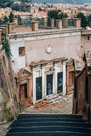 Steps to the Chiesa di San Pietro in Montorio, in Rome, Italy.