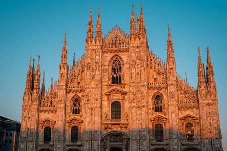 Sunset light on the Duomo in Milan, Italy.