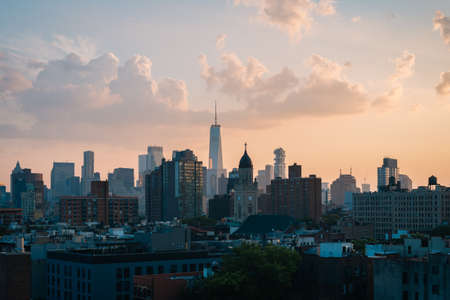 View of Midtown at sunset, in Manhattan, New York City 免版税图像