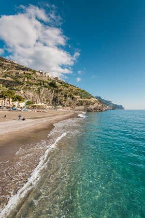 The beach in Minori, on the Amalfi Coast in Campania, Italy