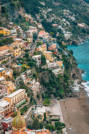 A view of buildings on the hillside in Positano, Amalfi Coast, Italy.
