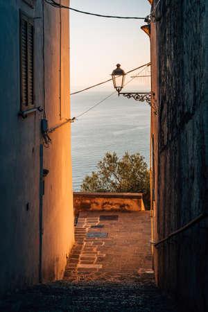 Morning light on a staircase in Minori, on the Amalfi Coast, Campania, Italy