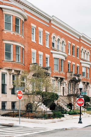 Row houses on Charles Street, in Charles Village, Baltimore, Maryland