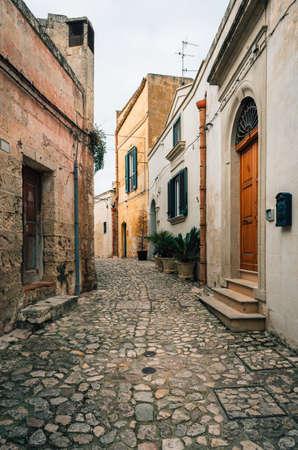 A cobblestone street, in Matera, Basilicata, Italy