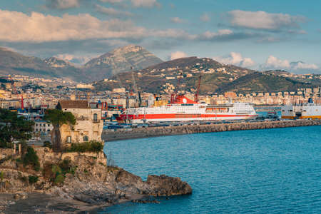 View of the Port of Salerno, in Campania, Italy 免版税图像