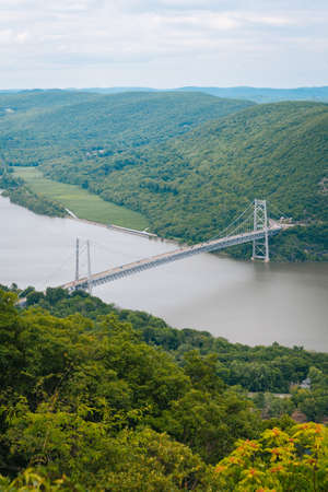 View of the Bear Mountain Bridge over the Hudson River, New York