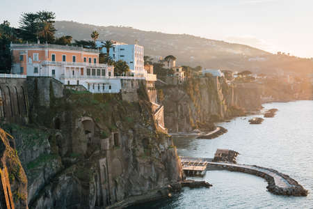 Cliffs at sunset, in Sorrento, Campania, Italy