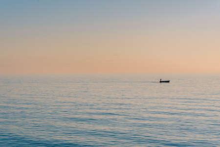 The Tyrrhenian Sea at sunset, in Salerno, Italy