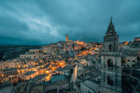 A view of Matera at night, in Basilicata, Italy.