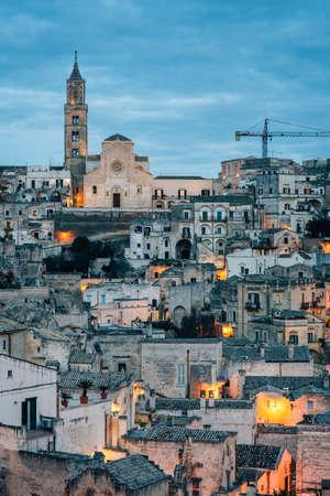 A night view of Matera, Basilicata, Italy