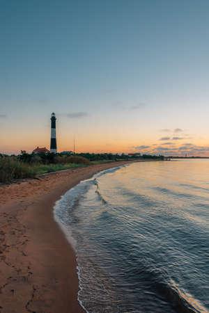 Fire Island Lighthouse at sunset, on Long Island, New York