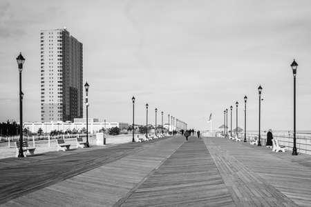 The boardwalk in Asbury Park, New Jersey. 免版税图像