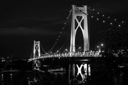 The Mid-Hudson Bridge at night, in Poughkeepsie, New York