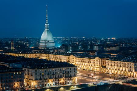 A night view of the Mole Antonelliana, from Monte dei Cappuccini, in Turin, Italy.