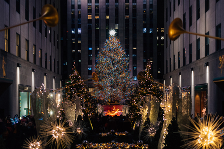 Christmas tree at Rockefeller Center at night, in Midtown Manhattan, New York City