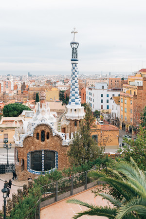 View of Park Guell, in Barcelona, Spain