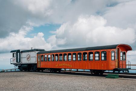 Cog Railway train on Mount Washington, in the White Mountains of New Hampshire