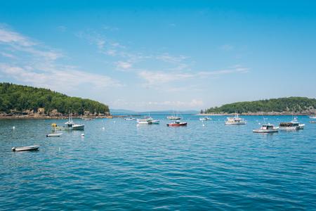 Boats in Frenchman Bay, in Bar Harbor, Mount Desert Island, Maine Stock Photo