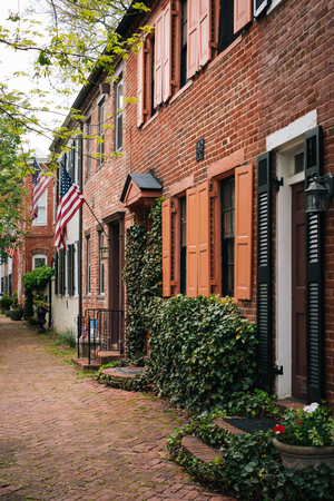 Brick row houses in Old Town, Alexandria, Virginia