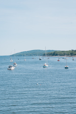 Boats in the Passagassawakeag River, in Belfast, Maine
