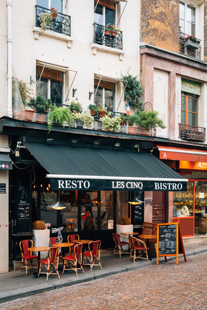 A restaurant along Rue Mouffetard, in the Latin Quarter, Paris, France
