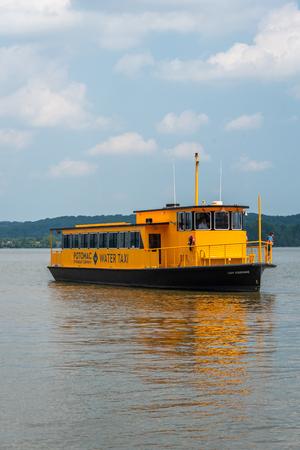 A water taxi in the Potomac River, in Alexandria, Virginia