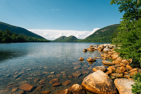 Jordan Pond and view of the Bubbles in Acadia National Park, Maine