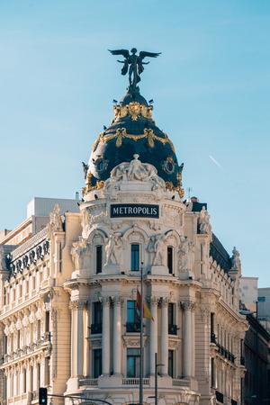 The Metropolis Building on Gran Via, in Madrid, Spain