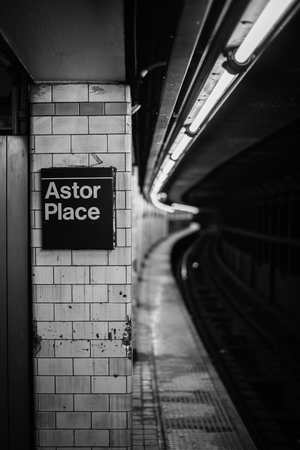The Astor Place subway station, in Manhattan, New York City 写真素材