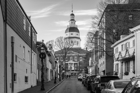 Francis Street, and the Maryland State House, in Annapolis, Maryland.