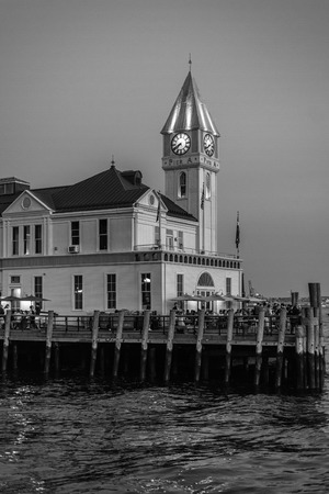 The Pier A Harbor House at night, in Battery Park, Manhattan, New York City