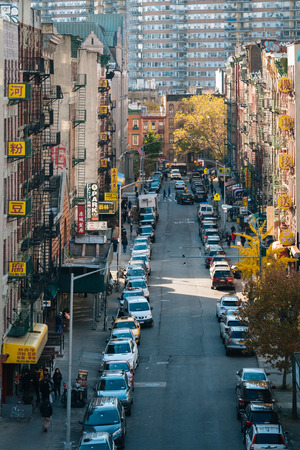 Autumn view of a street in Chinatown, from the Manhattan Bridge in New York City