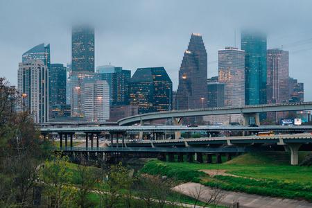 Foggy view of the Houston skyline, in Houston, Texas