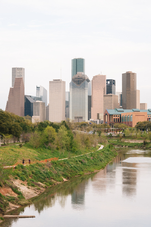 The Buffalo Bayou and Houston skyline, in Houston, Texas