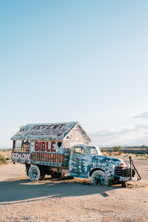Truck at Salvation Mountain, in Slab City, California