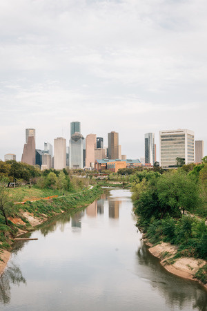 View of the Houston skyline from Buffalo Bayou Park, in Houston, Texas